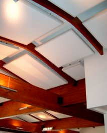 acoustic panels tiles in a vaulted restaurant ceiling