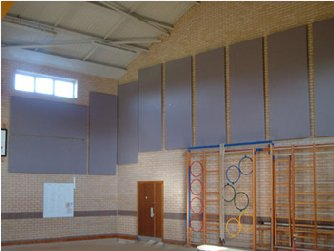 acoustic panels tiles in a school sports hall