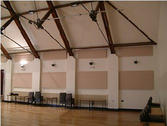 acoustic panels tiles in a school hall